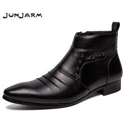Junjarm 2019 botas de couro genuíno dos homens altos botas de tornozelo dos homens da moda britânica botas de chelsea estilo de moda sapatos masculinos