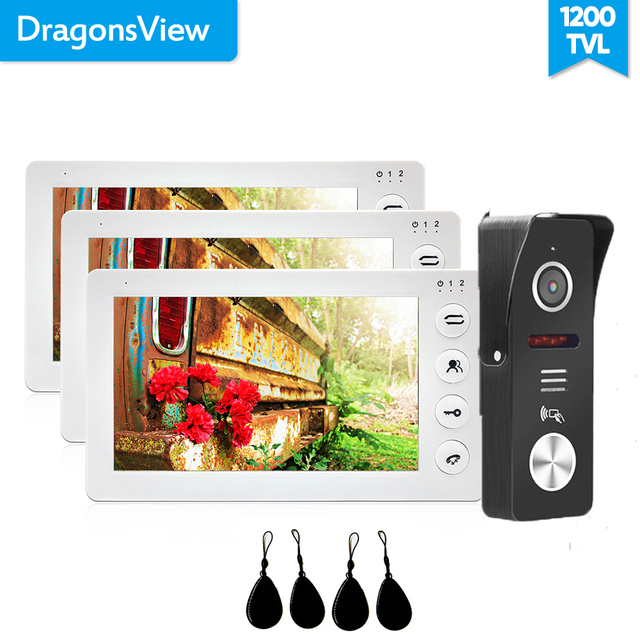 Dragonsview 7 Inch Video Door Phone Doorbell Camera System Video RFID Door Access Control System Unlock Record Wide Angle 130