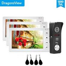 Dragonsview Sistema de timbre de puerta de vídeo, 7 pulgadas, sistema de vídeo RFID, Control de acceso de puerta, desbloqueo, registro, gran angular, 130
