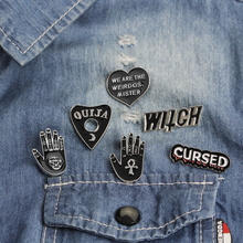 Dark enamel pins CURSED WITCH Palm YES NO Heart Brooch Denim Jeans Pin Buckle Shirt Badge Fashion Gift for Friend star cursed