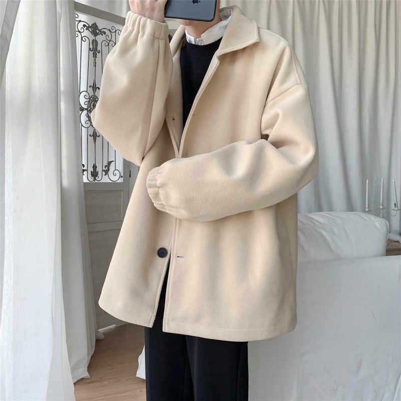 Новое шерстяное пальто, пальто для студентов, молодежная Свободная Повседневная Большая куртка, мужской плотный шерстяной Тренч, деловой мужской однотонный классический