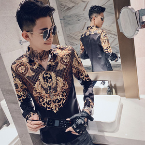 Image 3 - Luxury Print Shirt Men Autumn New Tuxedo Shirt Long Sleeve Streetwear Patchwork Color Mens Casual Shirts Slim Fit chemise homme