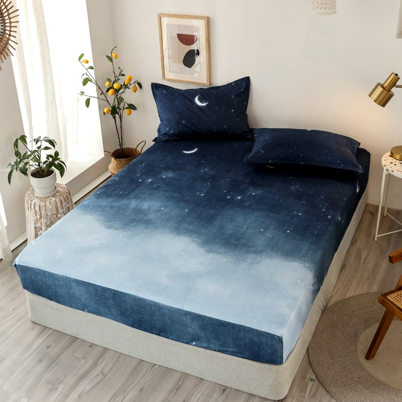 Bonenjoy 3 pcs Fitted Bed Sheets Single drap de lit Geometric Pattern Stitching Mattress Cover with elastic For Double Bed Sheet 19