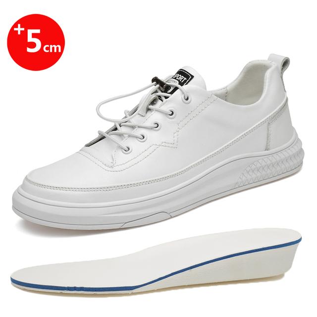 Białe trampki męskie buty na koturnie wzrost wysokości wkładki wysokie obcasy buty 5CM buty skórzane obuwie rekreacyjne tanie tanio HOMASS CN (pochodzenie) Skóra Split RUBBER Lace-up Pasuje prawda na wymiar weź swój normalny rozmiar Podstawowe Stałe