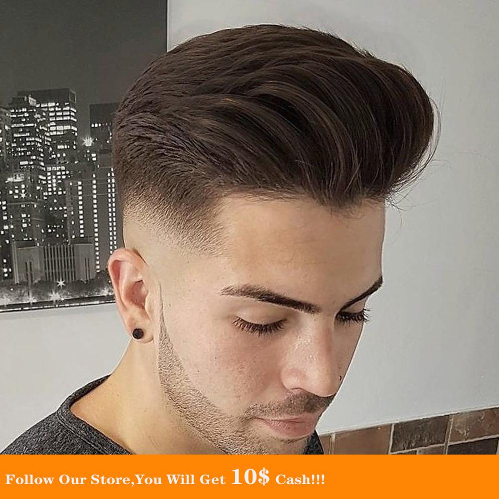 BYMC Mens Toupee Super Soft Thin Skin Men's Toupee 100% Real Indian Human Hair Pieces For Men Brown Colored Toupee For Men