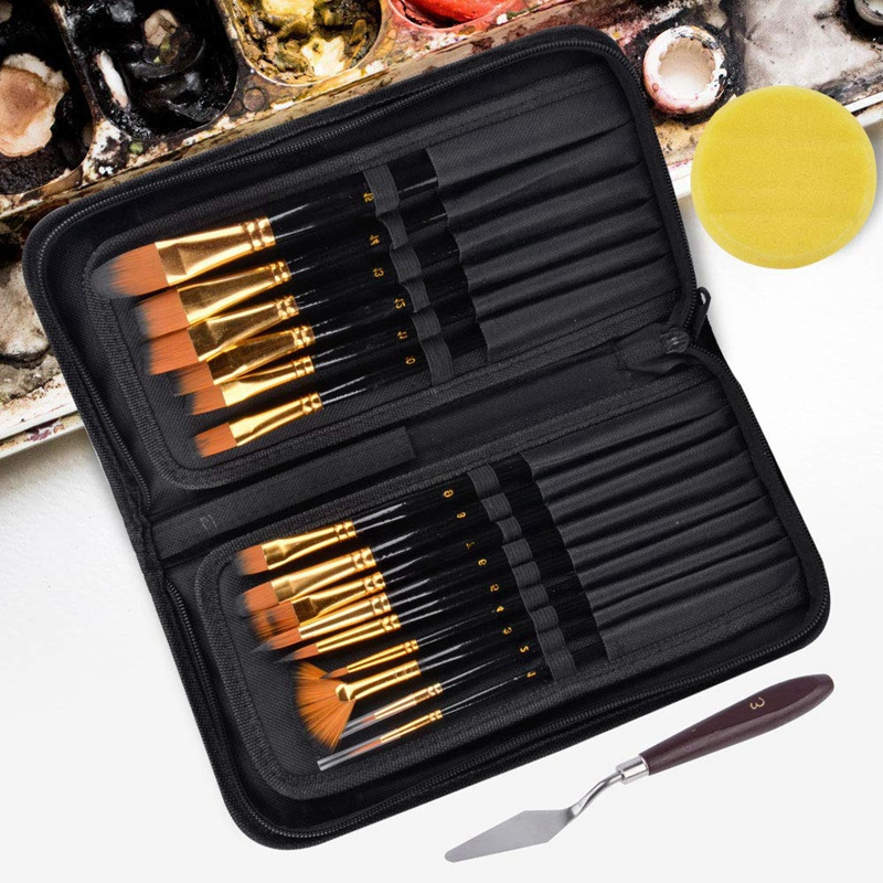 15Pcs Artist Paint Brush Set Nylon Art Paint Brushes With Case For Gouache, Acrylics, Oil And Watercolor