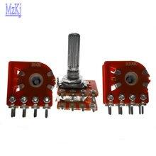 5 шт. Горячее предложение WH148 с фокусным расстоянием 25 мм дуплекс потенциометра 50KBX2 100KBX2 B50K 50K 100K 8PIN для ALPS RK27 RH2702