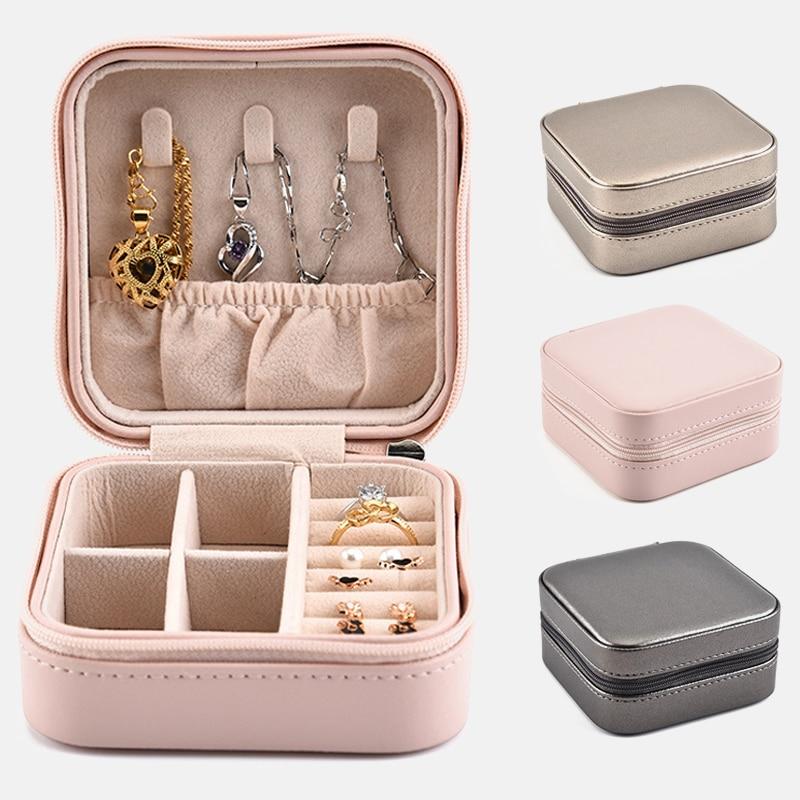RANO Small Size Jewelry Organizer Display Travel Jewelry Case Boxes Portable Cosmetic Zipper Leather Storage Jewelry Box