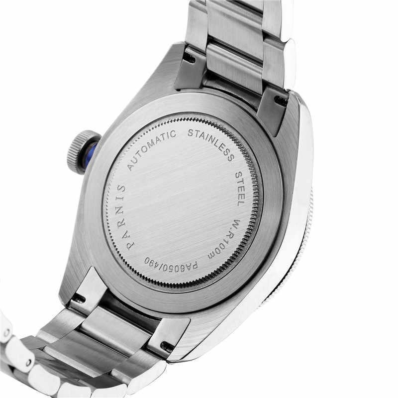 Di modo 41 millimetri Parnis Automatico Degli Uomini Meccanici di Orologi di Lusso di Marca Della Vigilanza di Mens 21 Jewel Miyota Movimento di Cuoio/Cinturino In Acciaio orologio