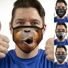 Divertida máscara facial Unisex Para adultos, mascarilla facial con estampado de animales, transpirable Para exteriores, Para La Boca