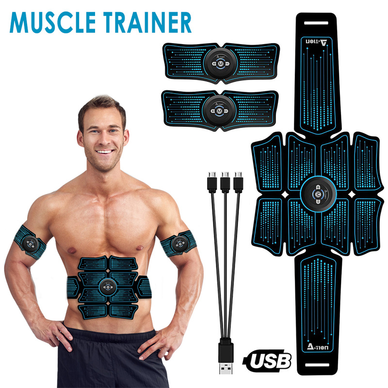 EMS Wireless Muscle Stimulator Trainer Smart  For Fitness Gear Abdominal Electric Training Body Weight Loss Slimming Belt Unisex