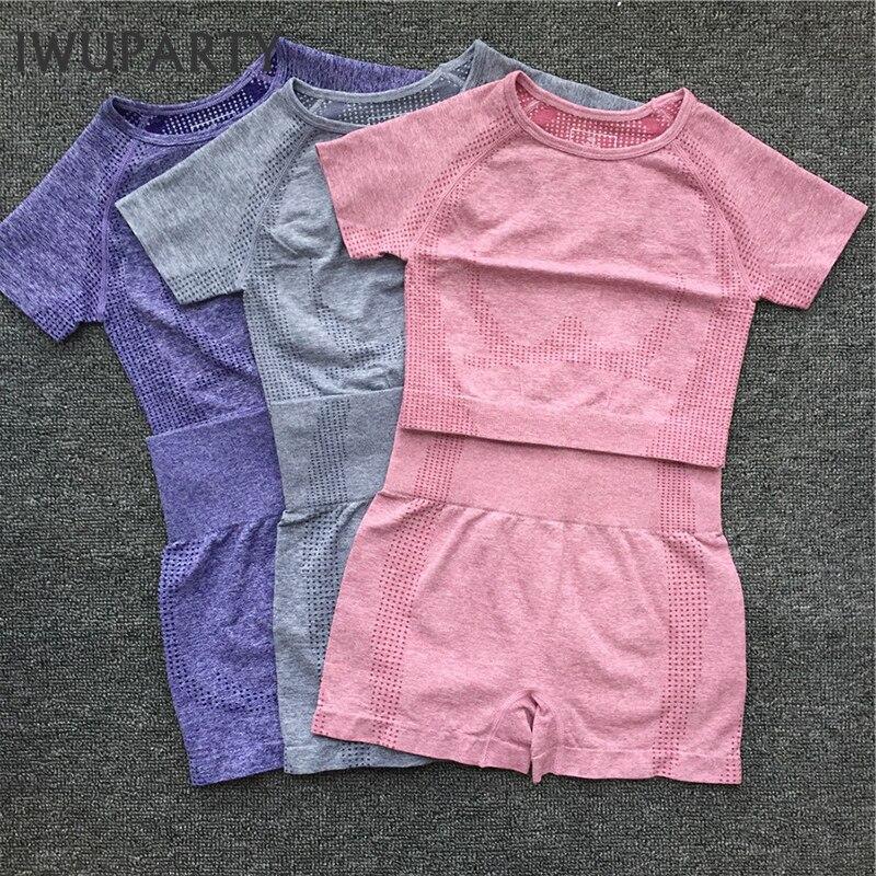 Women Short Sleeve Sport Set 2 Piece Vital Seamless Joga Suit Gym Clothes Fitness Crop Top Shirt High Waist Shorts Sportswear
