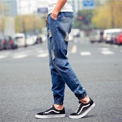 Men's Fashion Jeans Casual Ripped Male Straight Regular Denim Summer Elasticated Trousers Clothing Spring Autumn 2021