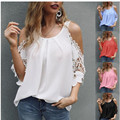 New Womens Summer Fashion Sexy Tops Solid Color Chiffon Loose O-Neck Off Shoulder Short Sleeve 5xl T-Shirt