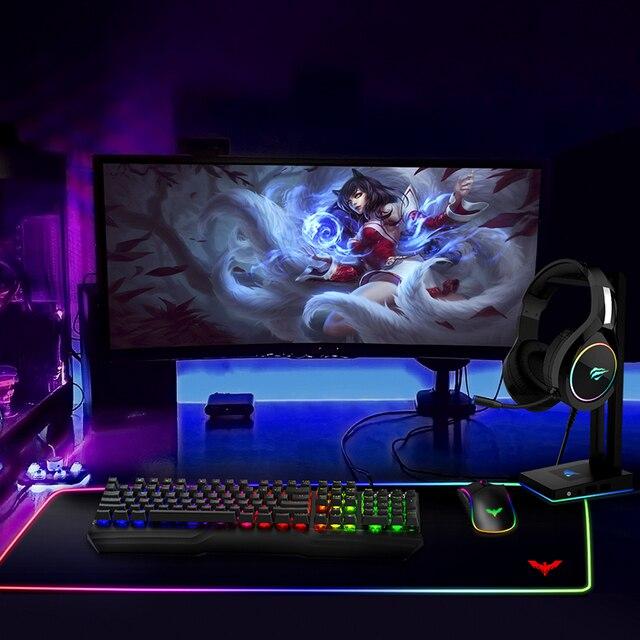 HAVIT Mechanical Keyboard 104 Keys Blue Switch Gaming Keyboard RGB /LED Light Wired USB For US / Russian Keyboard 6