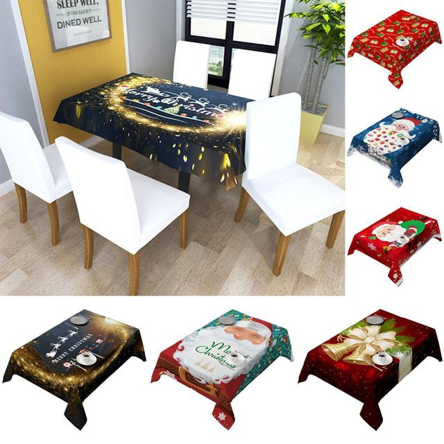 140X180cm Polyester Tablecloth rectangular Home Christmas Decorations Santa Claus Xmas Tabletop Party Decor 1