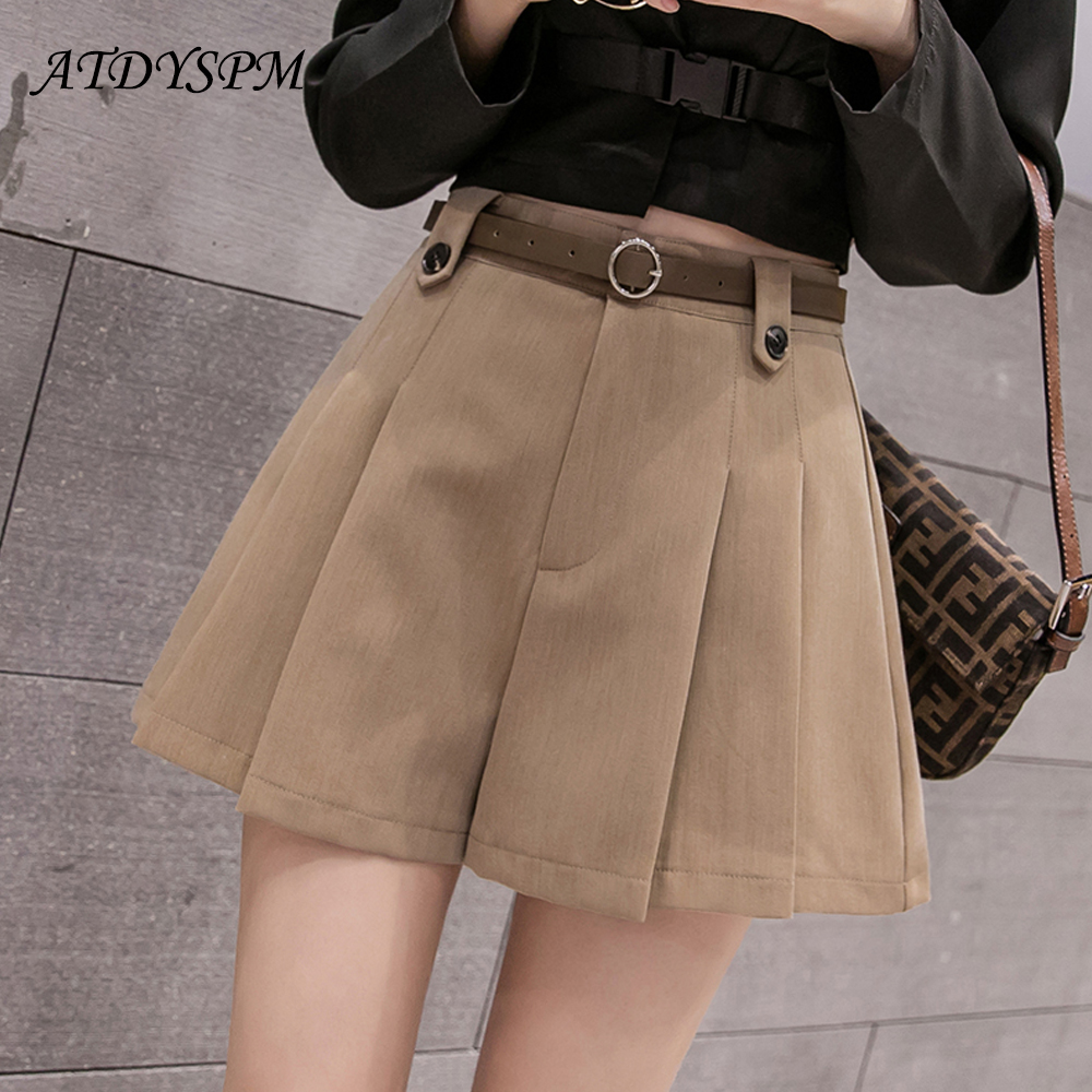 Women's High Waist A-Line Shorts Elegant Casual Loose Shorts 2019 Autumn And Winter Korean Version Pleated Wide Leg Shorts