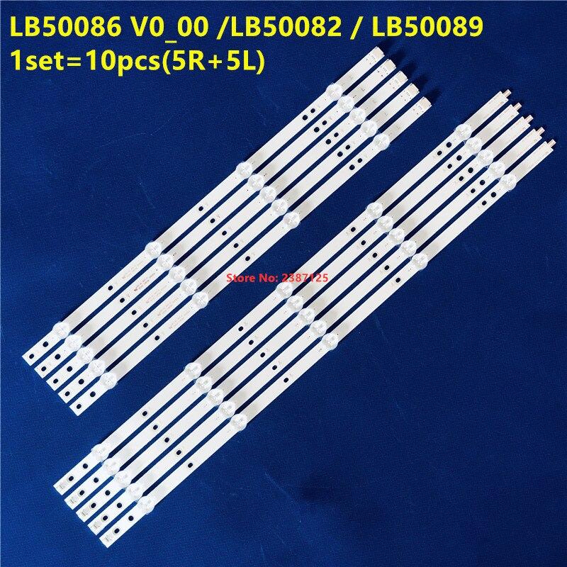 10pcs LED StripLB50086 V1_00 LB50086 V0_00 For Phi Lips 50PUS6162/12 50PUS7383/12 50PUS6703 50PUS6753  50PUS6523/12 50PUS6503