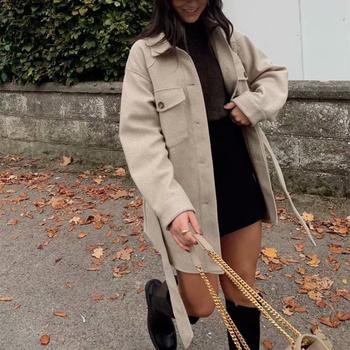 PUWD Vintage Woman Loose Sashes płaszcze wełniane 2020 Chic kobieta jesień miękki kołnierz na dół znosić panie eleganckie z kieszeniami kurtki tanie i dobre opinie Na co dzień POLIESTER CN (pochodzenie) Na wiosnę jesień Stałe REGULAR Wysoka talia WOMEN Dla osób w wieku 18-35 lat