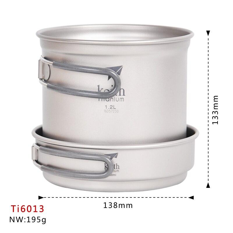Cuisine marmite ensemble titane casserole titane batterie de cuisine Set chaudron et poêle 400ml + 1.2L bactériostatique batterie de cuisine Ti6013