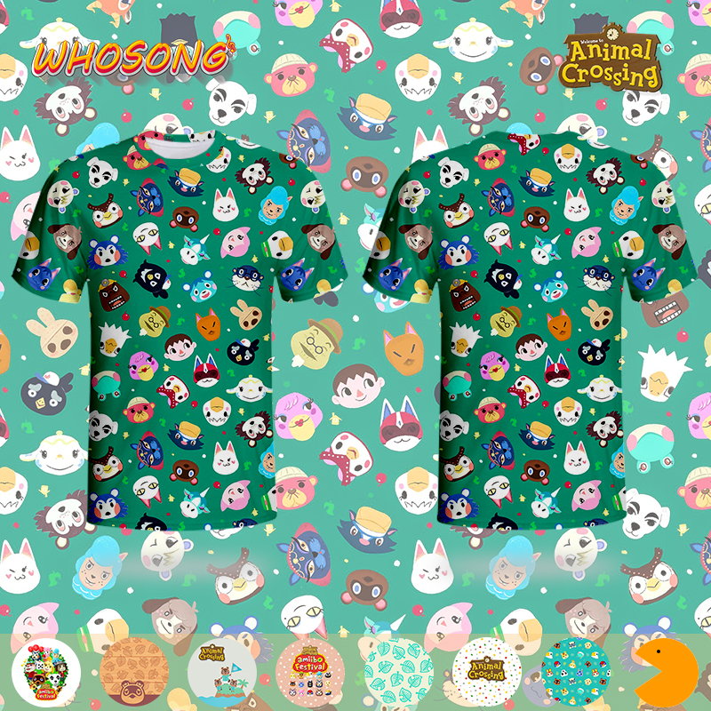 Popular Nintendo Game Super Fashion Burst sells Animal Crossing Tops Off White T shirt Kids Cartoon Tees Men Family Clothes image