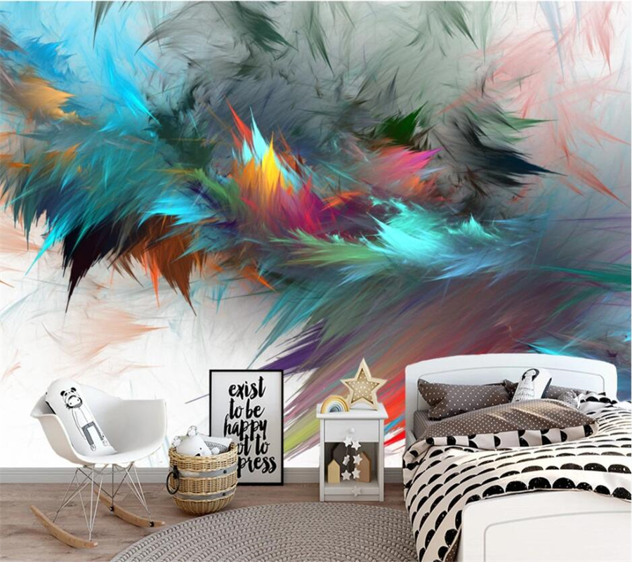 Beibehang Custom Wallpaper 3d Mural Nordic Abstract Watercolor Art Colorful Feather Living Room Wall Papers Home Decor Wallpaper