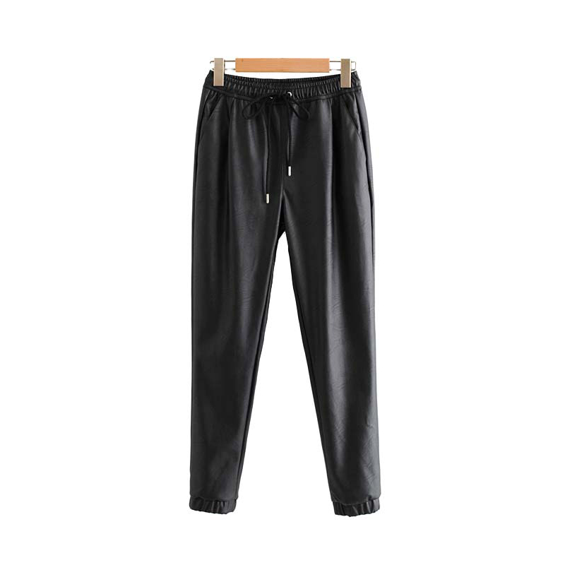 Vintage Stylish Pu Leather Pockets Pants Women 2020 Fashion Elastic Waist Drawstring Tie Ankle Trousers Pantalones Mujer 19