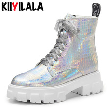 Kiiyilala Genuine Leather Platform Boots Women Booties Square Heels Round Toe Cross-tied Bling Ankle Boots Chunky Heels Shoes fashion square toe women booties chunky high heels back zipper ladies shoes geninue leather ankle boots women black white brown