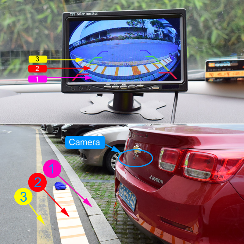 XCGaoon CCD 180 degree Fisheye Lens Car Rear Side front View Camera Wide Angle Reversing Backup Camera Night Vision Waterproof 2