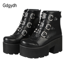 Gdgydh Sexy Rivet Womens Ankle Boots Platform Shoes High Heels Chunky Heel Gothi