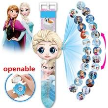 NEW Princess Elsa Spiderman Iron Children Watches Kids 3D Projection Cartoon Pattern Girls Watch Child Boys Digital Wristwatches
