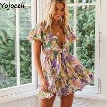 Yojoceli Elegant ruffle floral print short dress Summer wome