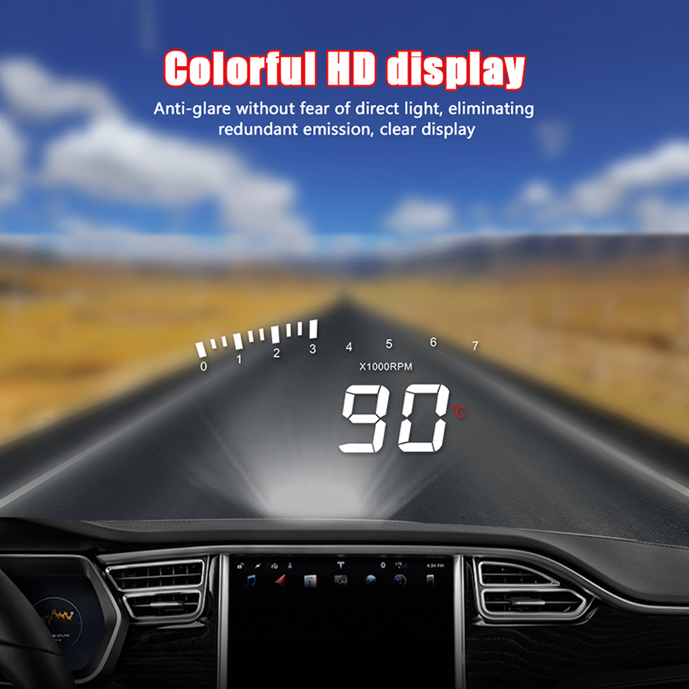 X5 HUD OBD II Head-Up Display โปรเจคเตอร์กระจกรถยนต์อัตโนมัติแรงดันไฟฟ้า
