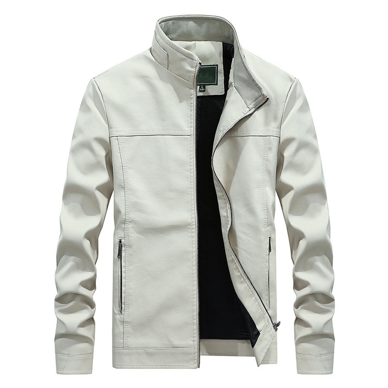 New Autumn Winter White Leather Jacket Men PU Coats Men's Stand Collar Long Coat Fashion Business Outerwear Male Brand Clothing