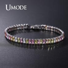 UMODE 2019 Zircon Crystal Tennis Bracelet for Women White Gold Color Jewelry Colorful CZ Crystals Box Chain UB0181J