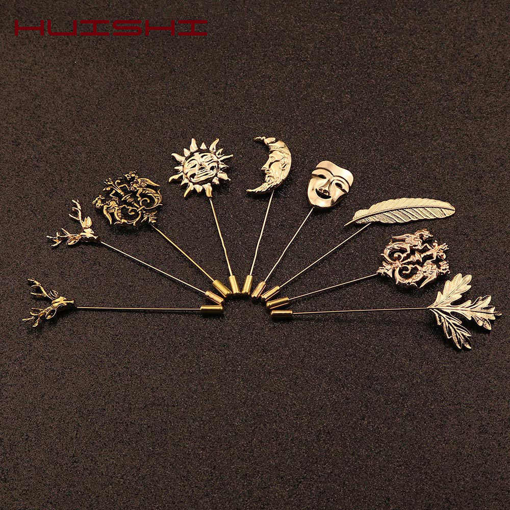 HUISHI Vintage Brooch Men Women Jewelry Accessories Gold Slivery Vintage Shape Suit Brooch Pin For Wedding Fashion Jewelry Retro