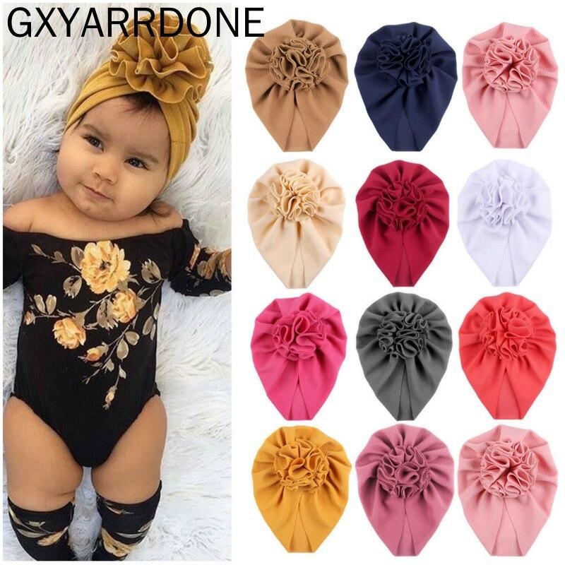 2020 Fashion Flower Baby Hat Newborn Elastic Infant Turban Hats For Girls Cotton Kids Children Beanie Cap Headwear Photo Props