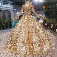 Vestidos de novia dorados estilo Vintage, de lujo, mangas largas con abalorios, con cordones, longitud hasta el suelo, 2020