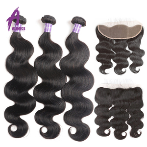 Image 3 - Alimice Body Wave Human Hair Bundles With Frontal Indian Hair Weave 3 Bundles With Closure 13*4  Preplucked Remy Hair Extensions