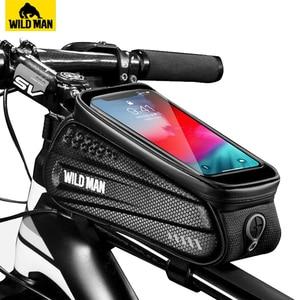 WILD MAN Waterproo Bicycle Phone Bag Top Tube Frame Bag Cycling Front Beam Bag Phone Holder For 6.5 inch Touch Screen Bike Bag(China)