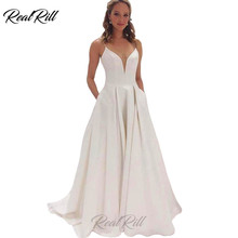 Real Rill Sexy V-neck Spaghetti Straps Wedding Dress A-line Satin Bride with Pockets Lace Up Back Gowns