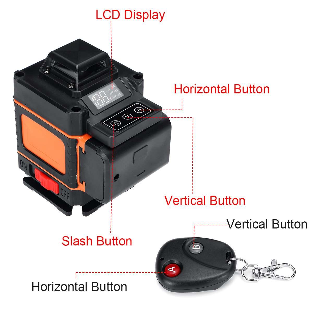 16 линий, 4D лазерные нивелиры, автоматическое наливное 360, вращающееся измерение, горизонтальный вертикальный крестообразный светодиодный дисплей, мощный зеленый лазер
