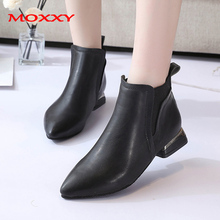 цена 2019 New Chelsea Boots Women Shoes Low Heel Pointed Toe Sexy Ankle Boots Female Leather Black Boots Shoes Woman zapatos de mujer онлайн в 2017 году