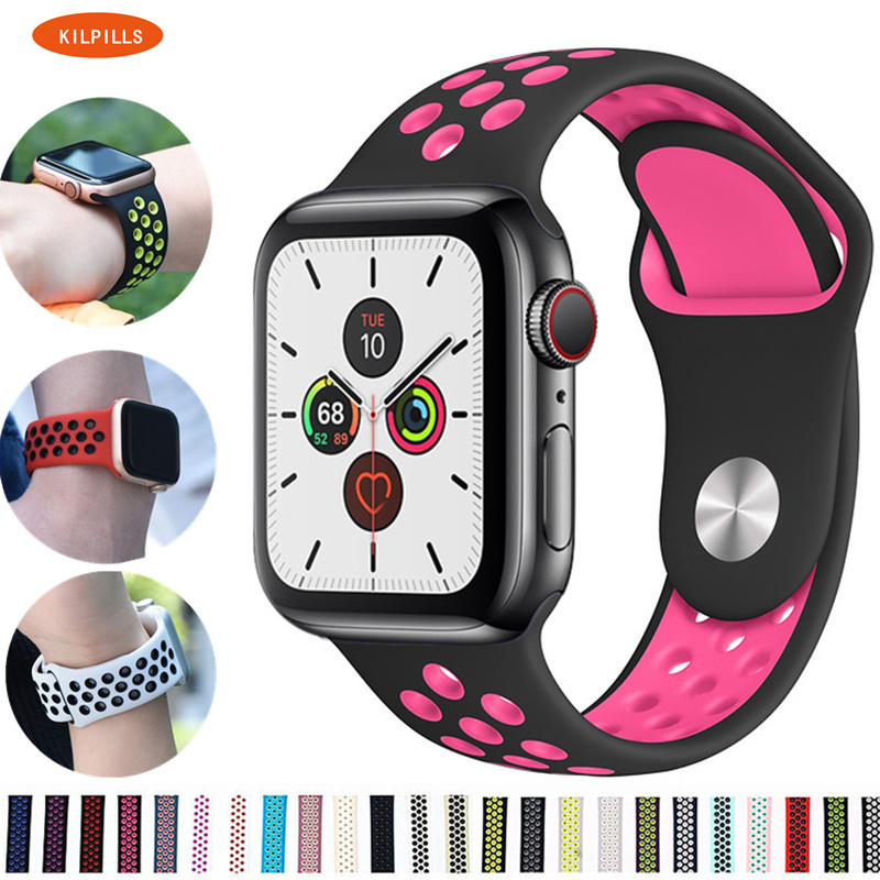 Silicone Strap For Apple Watch Band 44 Mm/40mm IWatch Band 42mm/38mm Breathable Sport Watchband Bracelet Apple Watch 5 4 3 2 1