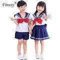 Детская Матросская униформа, летняя юбка с коротким рукавом для девочек, костюм для фотосъемки на выпускной детский сад с бантом