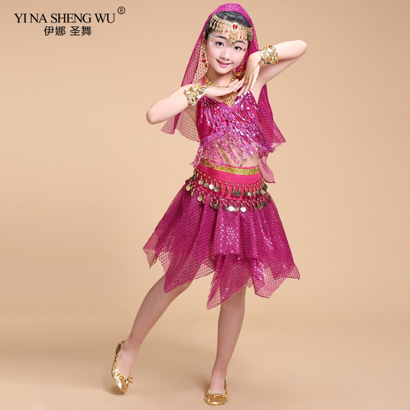 Girls Bollywood Belly Dance Costume Set <font><b>Indian</b></font> Dance <font><b>Sari</b></font> Bellydance Skirt Suit <font><b>Kids</b></font> dance wear Children Performance Clothing image