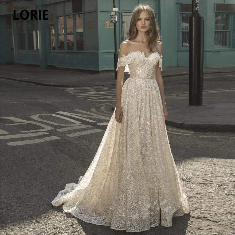LORIE 2020 Bohemian Wedding Dresses Boho Off Shoulder Appliqued Lace Beaded Sequins Sleeveless Bridal Gowns Backless Ruffle Sash