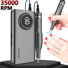 Nail Drill Machine 35000 RPM Portable Rechargeable Nail Drill Pen Apparatus for Manicure Nail Gel Polisher With Full LCD Display
