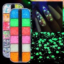 1 Long-Box Glow-In-Dark-Sticker Butterfly Nail-Art Heart Luminous Love Star Sequins Flakes-Powder