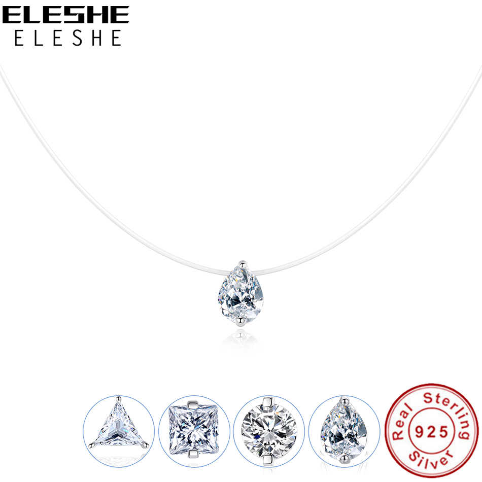 ELESHE 925 Sterling Silver Necklace & Pendant Transparent Water Drop Crystal Raindrop Choker Necklaces for Women Wedding Jewelry